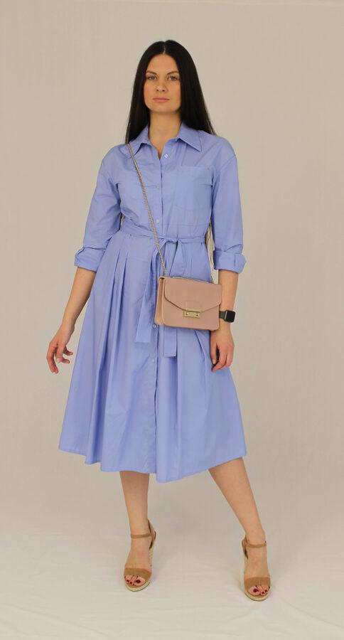 Marškinių tipo žydra suknelė