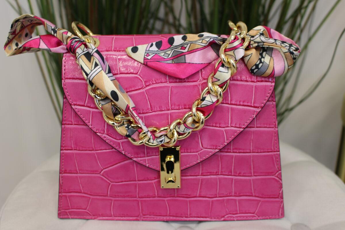 Rožinė odinė rankinė