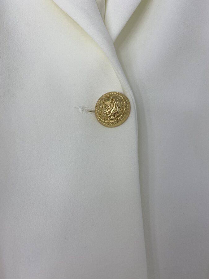 Baltas Vicolo švarkas auksinėmis sagomis