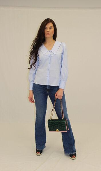 Mėlyni platėjantys džinsai